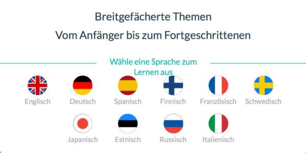 WordDive Sprachen