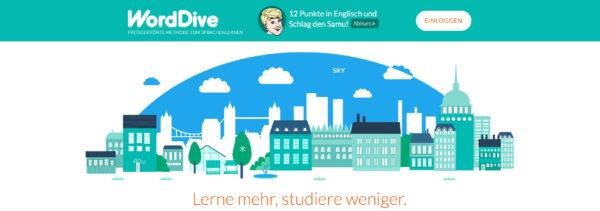 WordDive Startbildschirm