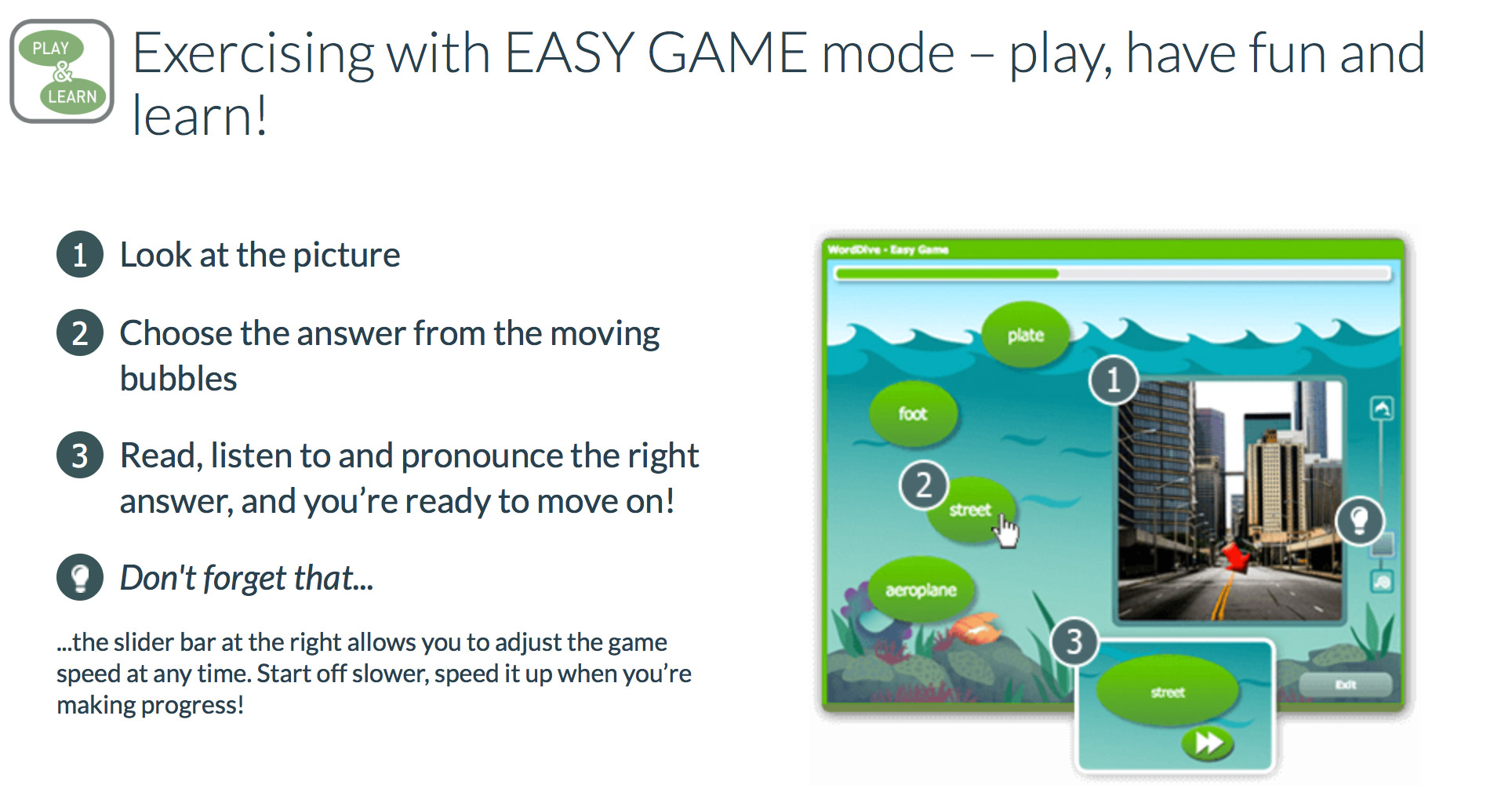 WordDive easy game mode