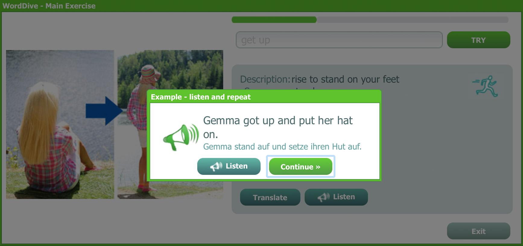 WordDive example