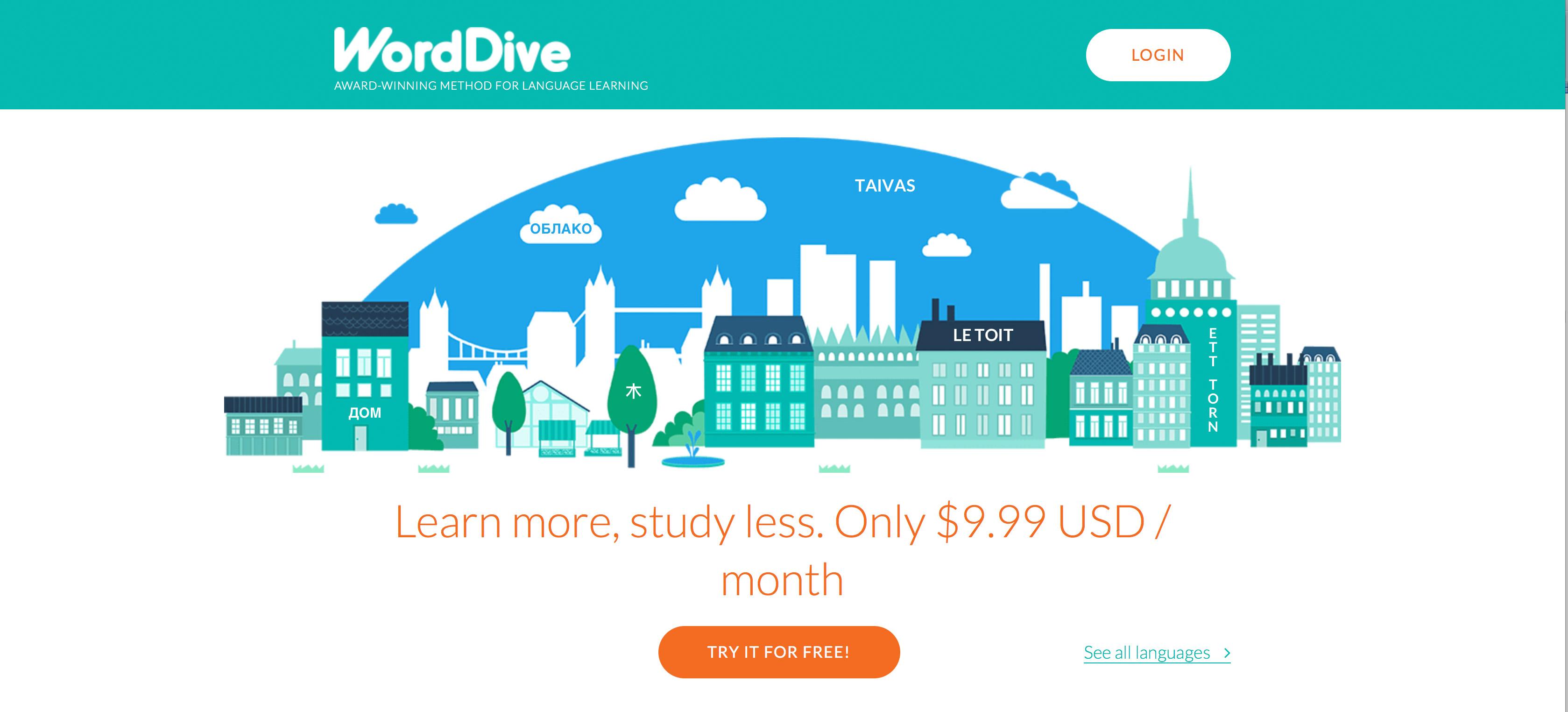 WordDive homepage - en