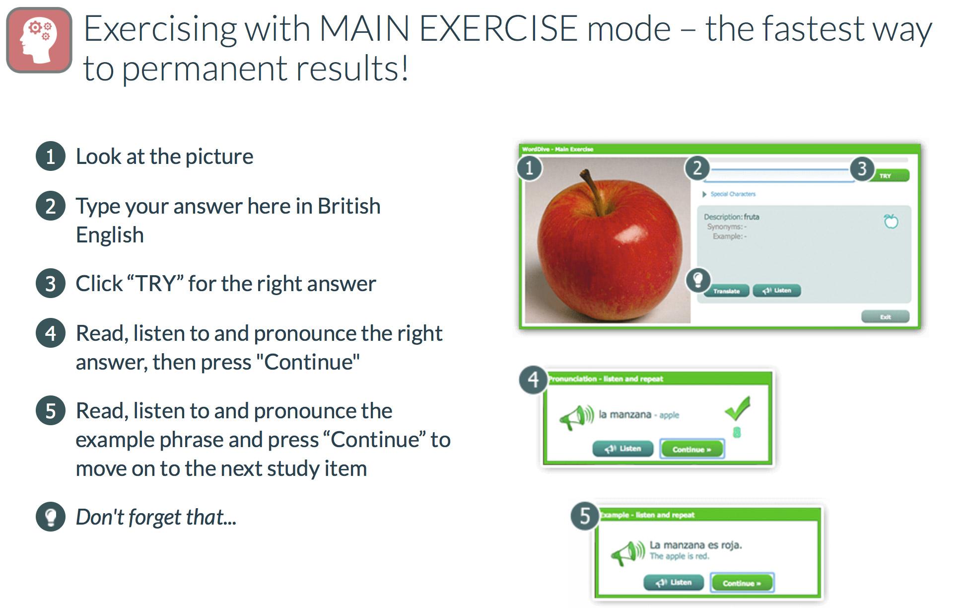 WordDive main exercise